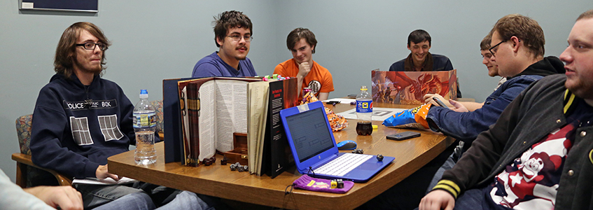 Dungeons & Dragons Club playing on campus.
