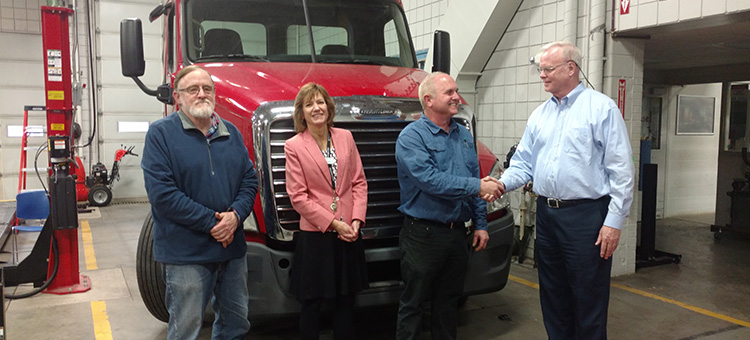 Matheny Motors partners with WSCC. Shown from left to right are Joe Nutter--Program Director of the Auto Diesel program,Brenda Kornmiller-- Dean of WSCC's Business, Engineering, Industrial Technologies and Workforce Development, Jeff Starkey--Assistant Professor of WSCC's Auto/Diesel program, and Matheny Motors owner Mike Matheny.