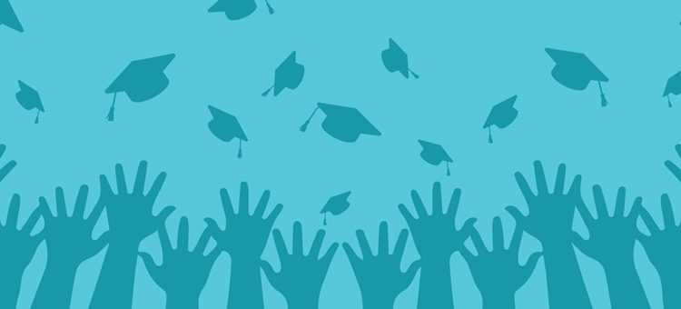 hands throwing grad cap in the air