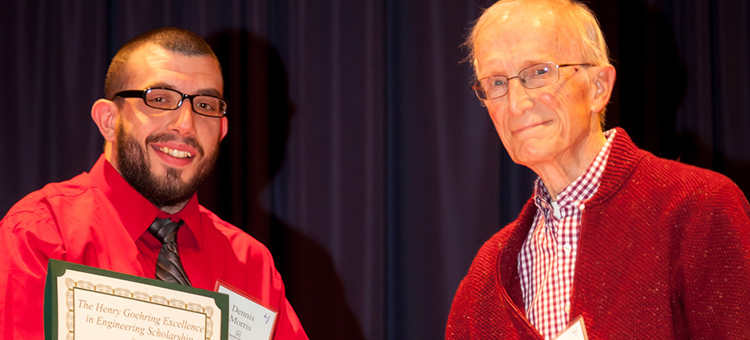 WSCC student Dennis Morris was able to meet his scholarship donor when he met Henry Goehring. Dennis received The Henry Goehring Excellence in Engineering Scholarship.
