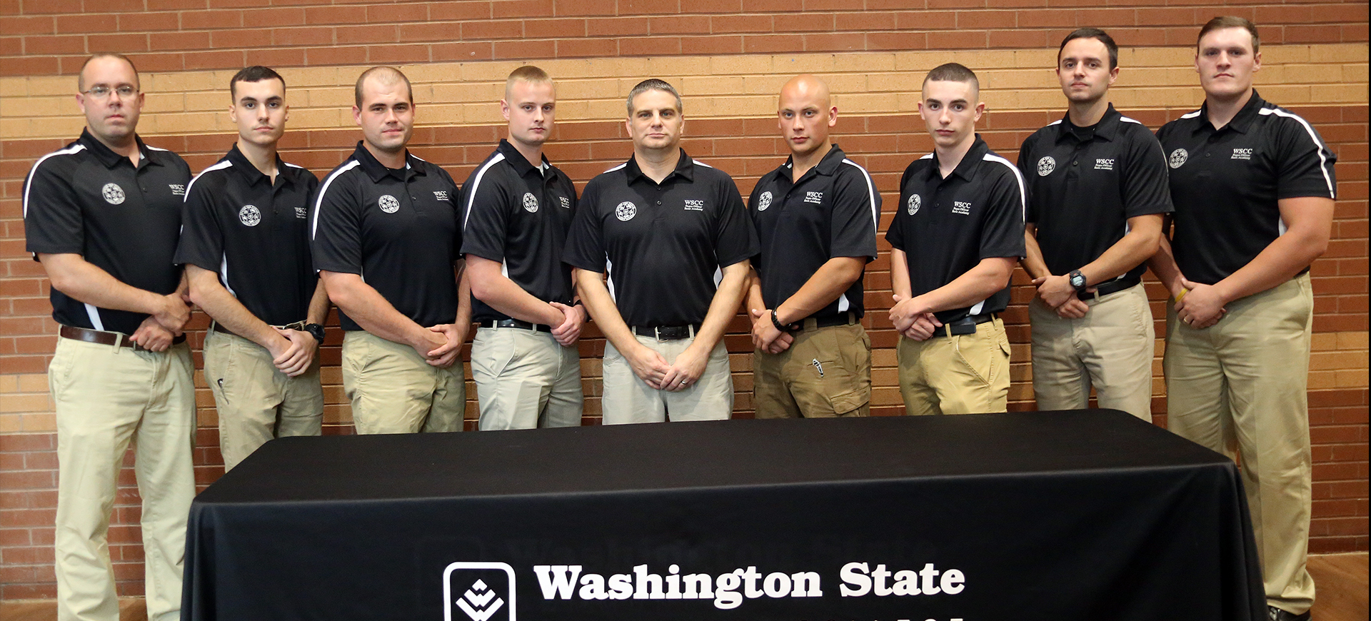 Washington State Community College (WSCC) recently recognized graduates of its Peace Officer Basic Academy (POBA). Graduates-- left to right: Travis Skinner, Matthew Stillson, Zachery Kehl, Tanner Jackson, Jeffrey Young, Tim Skinner, Quinton Anderson, Tyler Norris, and Gunner Smith