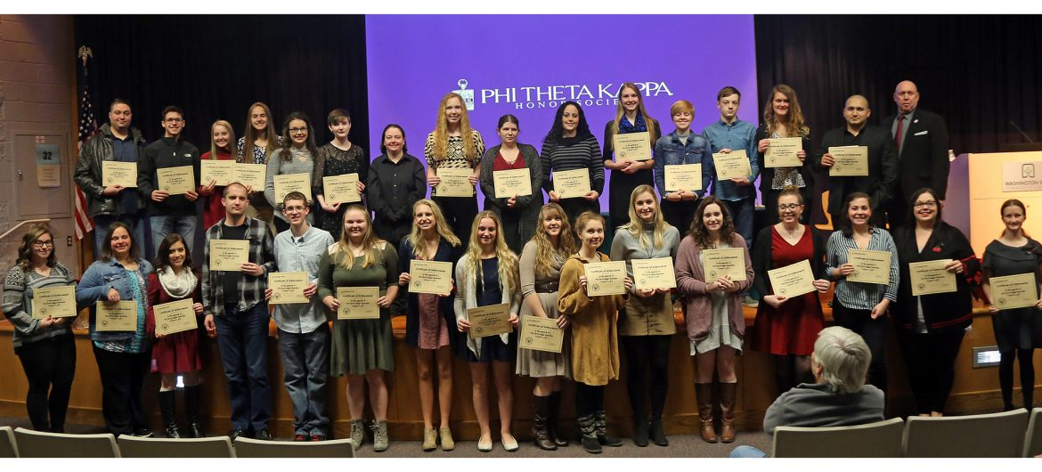 The Alpha Rho Gamma chapter of Phi Theta Kappa (PTK) at Washington State Community College (WSCC) recently inducted its largest group in more than five years.