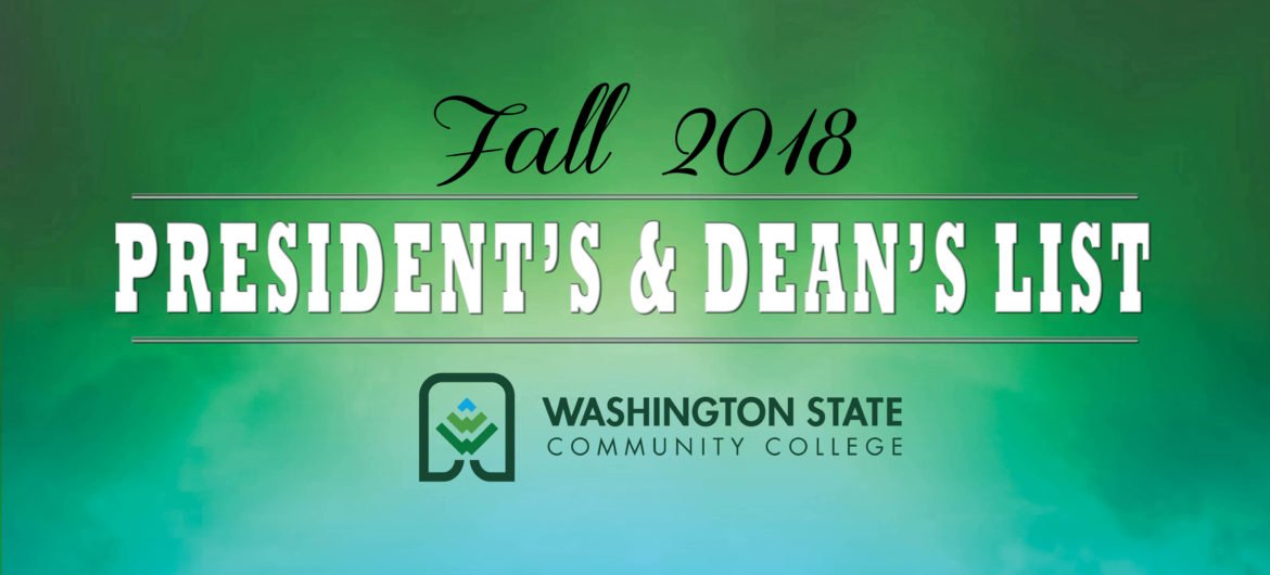 President's and Dean's lists for the 2018 Fall semester