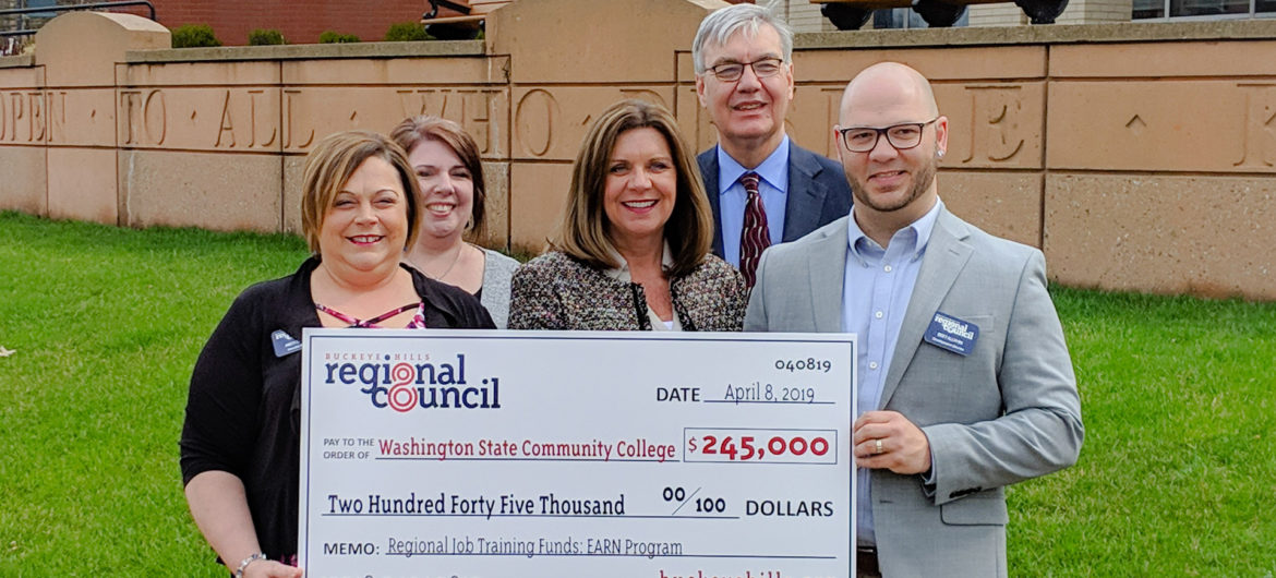 Members of the Buckeye Hills Regional Council recently presented a check for the Regional Job Training grant to WSCC President Dr. Vicky Wood. The grant supports the institution's EARN Pathway which was designed to allow students to advance their career by earning an Associate Degree in Nursing (ADN) while still employed. By allowing more students the chance to become a registered nurse, healthcare employers also benefit from the guaranteed pool of skilled nurses.