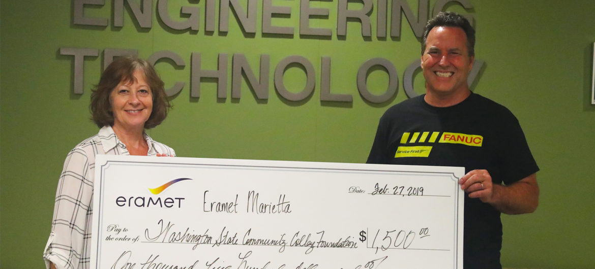 Eramet Marietta recently made a contribution of $1,500 to the Washington State Foundation as thanks for a Washington State engineering class that fabricated a part to improve their process.