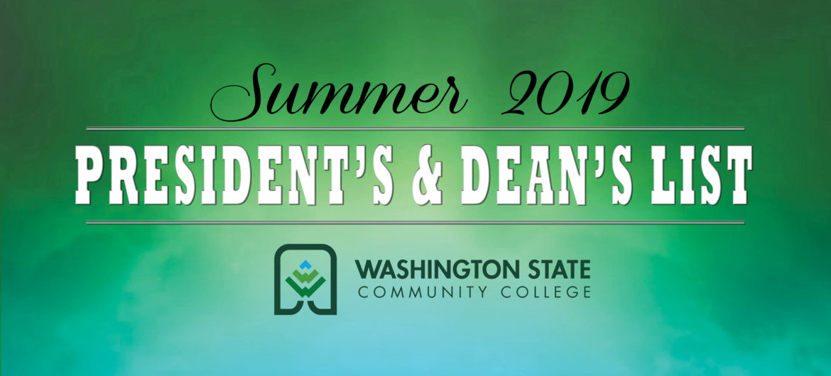 Washington State Community College's President's and Dean's lists for the 2019 summer semester.