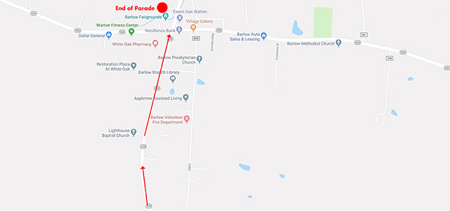 Map of end of parade