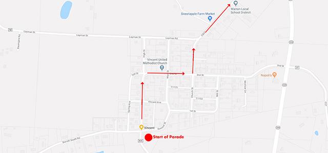 Map of start of parade